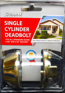 Guard Security single cylinder deadbolt in shiny brass finish