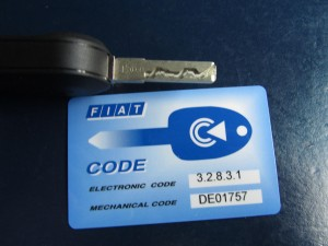 Fiat 500 Immobilizer card